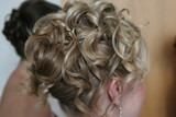 hairstyle up do blond formal event party poster