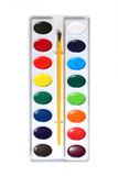 Watercolor paints palette poster