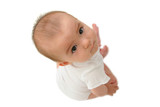 Seven Month old mixed baby girl looking up poster