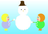 Girls making snowman