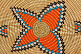 Colorful hand woven African basket poster