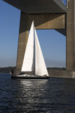 Sailboat on Little Belt sailing under suspension bridge poster