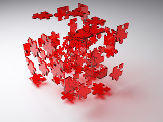 exploded red puzzle