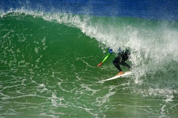 Surfer in the barrel