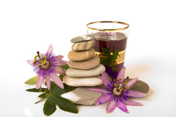 Zen Stones with Purple Passionflower and Candle