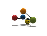 isolated multicolor molecule with shadow - 3d render poster