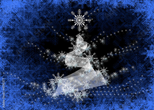 Abstract Christmas Tree on Blue