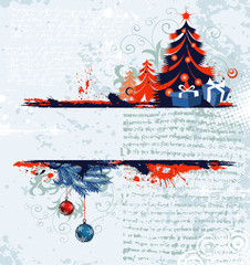 Grunge christmas frame with tree, element for design, vector