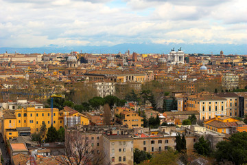 Color panoramic view Rome catholic basilics and monuments