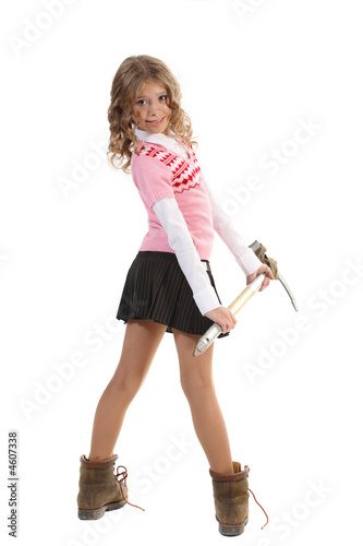 Young girl mountain-climbing shoe and with ice axe