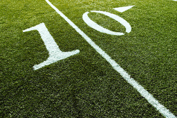 Football Field with 10-Yard Mark