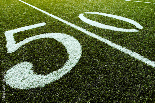 Football Field on 50 Yard Line