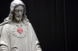 Jesus with a red heart, selective color - 4612580