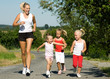 Joggen in Familie