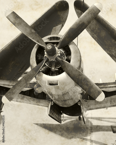 Wartime navy airplane with folded wings