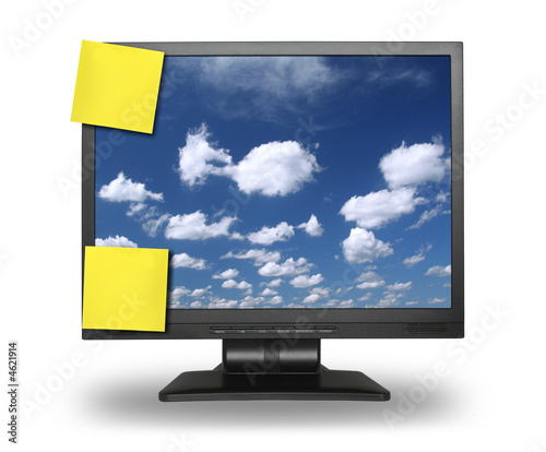 adhesive notes on lcd with sky