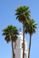 St. Thomas Mission bell tower in Yuma, AZ.