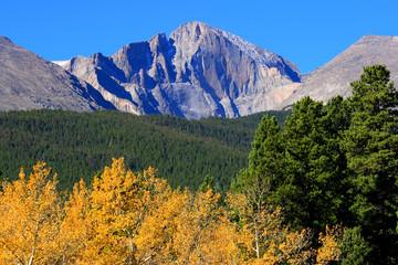 Autumn Aspens And Mountain Peaks