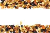 Mixed peanuts with copyspace isolated on white poster