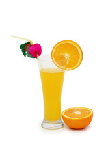 Oranges and juice isolated on the white