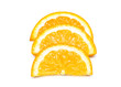 Three orange slices isolated on the white