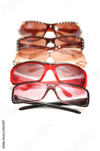 Various sunglasses isolated on the white background