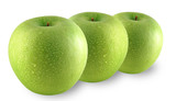 Green apples sprinkled with water poster