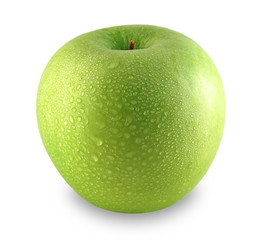 Green apple sprinkled with water
