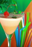 Alcoholic summer recreational drink with cherry poster