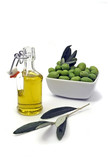 Extra virgin olive oil and fresh green olives poster