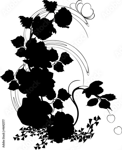 silhouette of poppy and rose