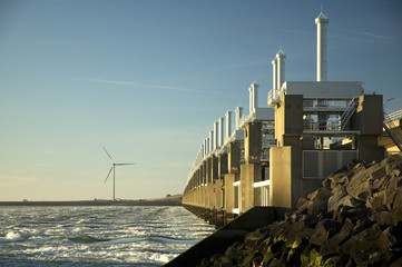 Storm surge barrier in Zeeland, Holland.