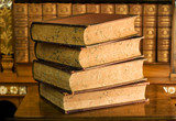 Fototapety Old books in classic library 4
