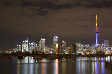 Auckland City CBD at Night with reflections upon water