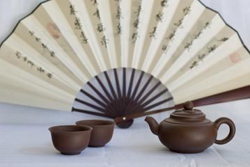 Tea set and fan