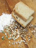 bread, flour and various grains, seeds and cereals poster