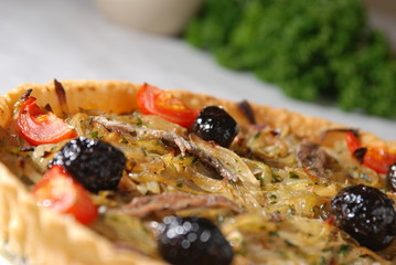 angled onion and olive pie