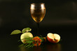Glass of wine, apple and grass on a black background.