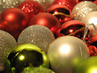 close-up of shimmering christmas balls
