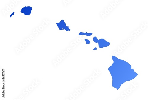 Isolated blue gradient map of Hawaii