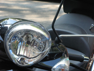 Close-up composition of a motorcycle headlight