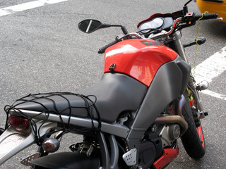 Close-up of a parked motorcycle
