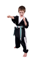 Boy Wearing Karate Outfit