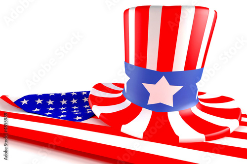 american flag and hat