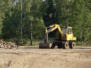 Bulldozer working in a construction site