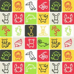 animaux - motif damier
