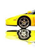 Yellow super car reflecting in liquid on a white background poster