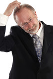 Businessman head scratch poster