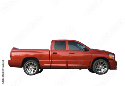 Powerful American pickup truck isolated on a white background