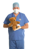 Surgeon with teddy bear. poster